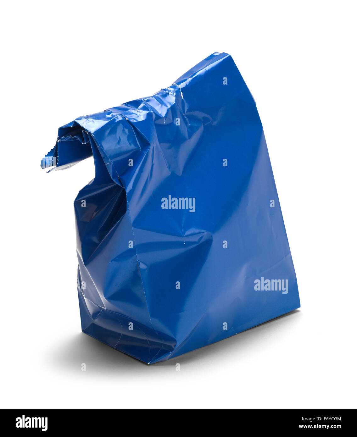 Wrinkled Blue Paper Bag Lunch with Copy Space Isolated on White Background. - Stock Image