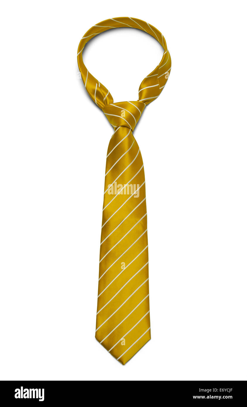 Yellow and White Striped Tie Isolated on White Background. - Stock Image