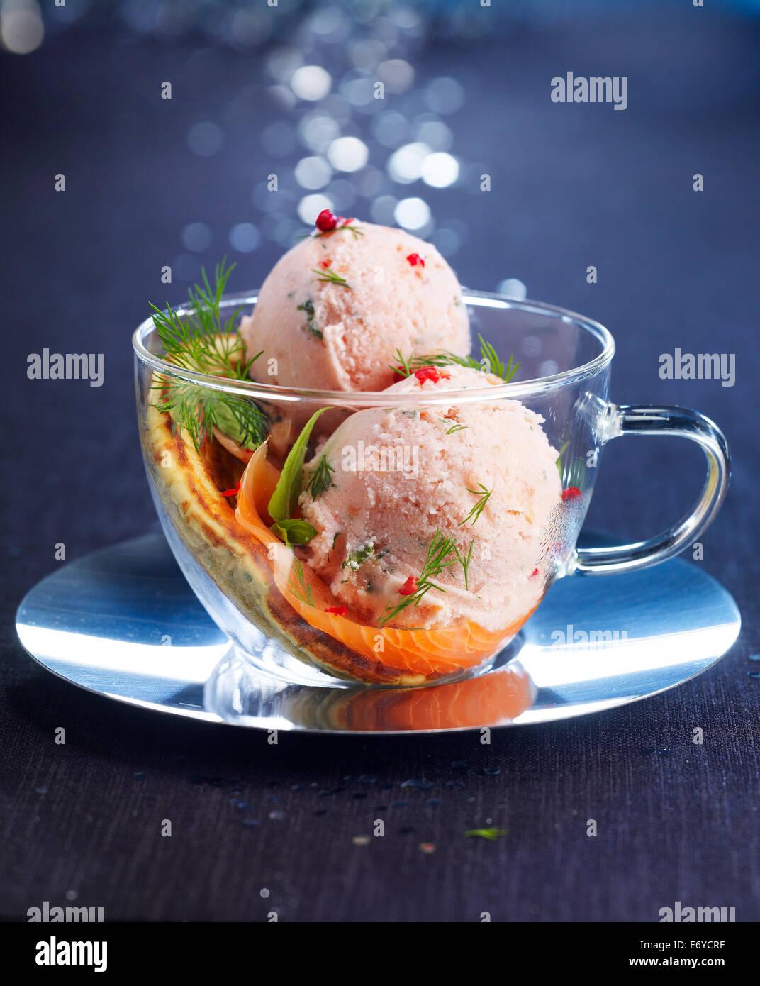 Salmon ice cream - Stock Image