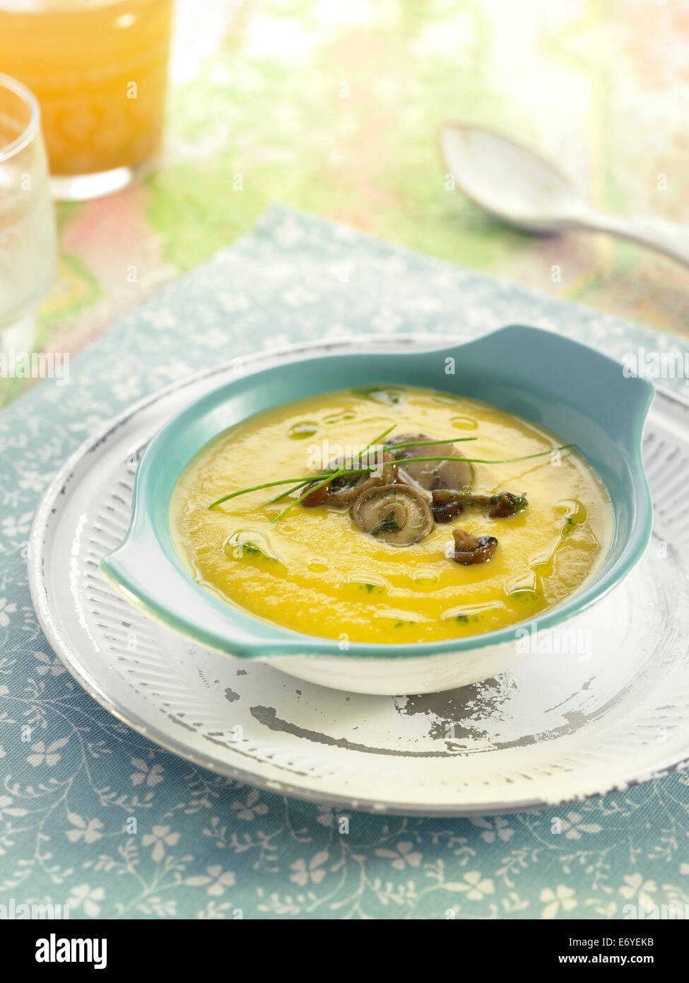 Pureed vegetables with mushrooms - Stock Image