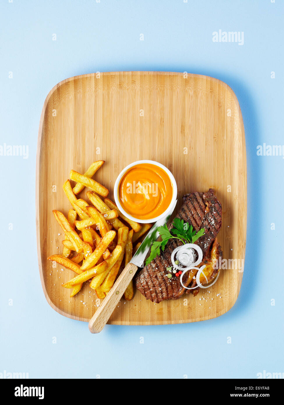Grilled rump steak with french fries - Stock Image