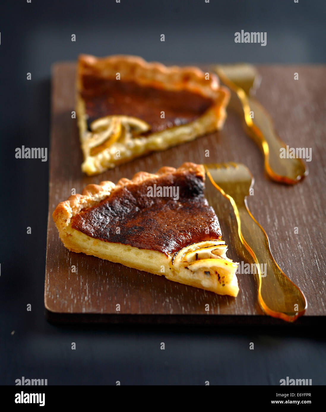 Slices of lemon tart - Stock Image