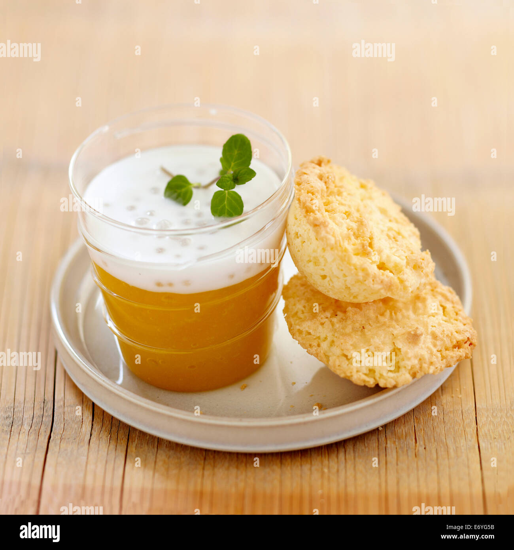 Pureed mango with japanese tapioca in coconut milk - Stock Image