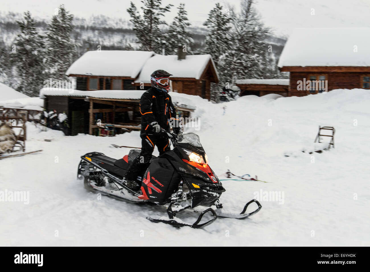 Snowmobile at Camp Tamoc, Lapland, Norway, Scandinavia, Europe - Stock Image