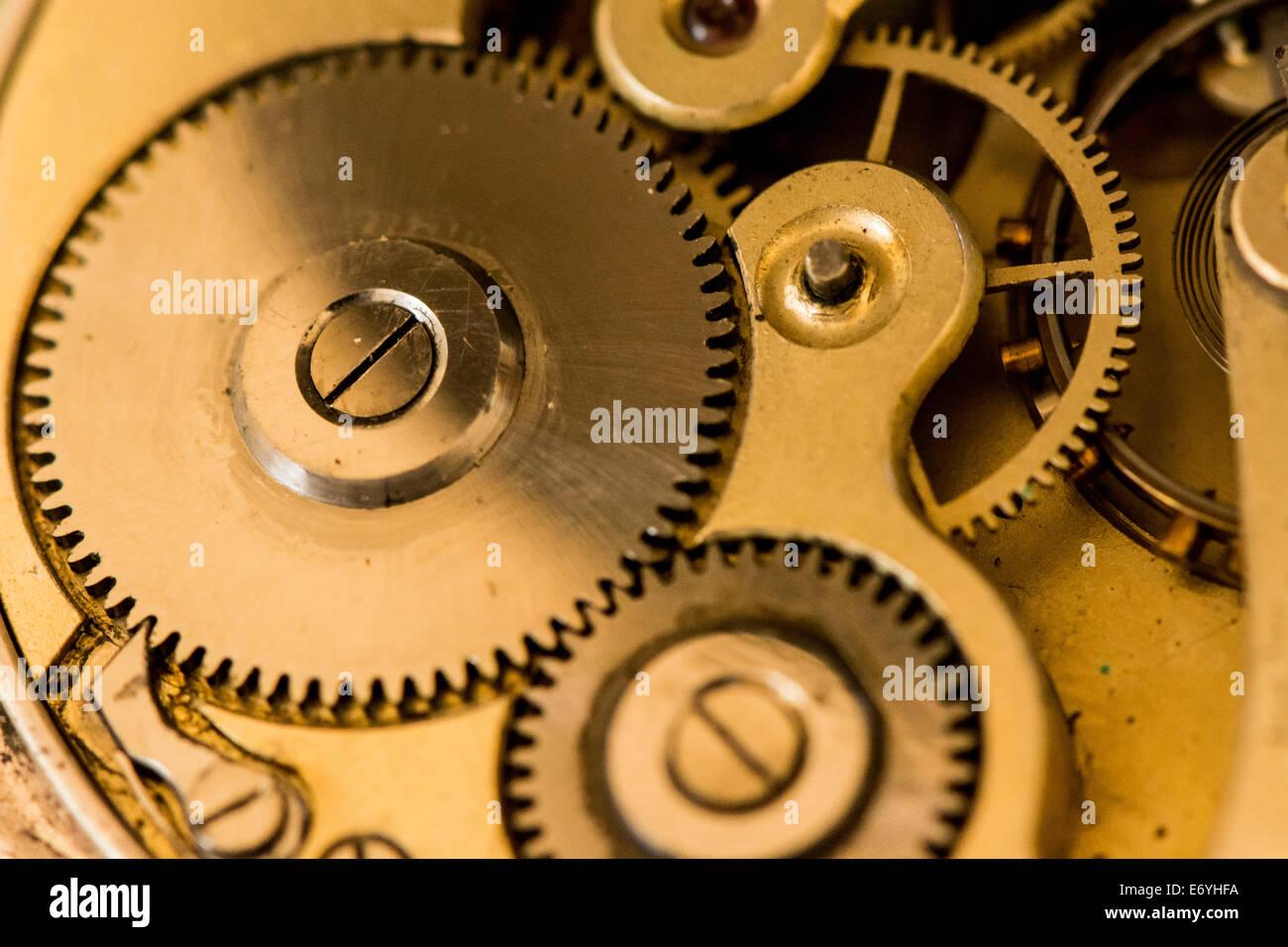 inside a vintage pocket watch - Stock Image