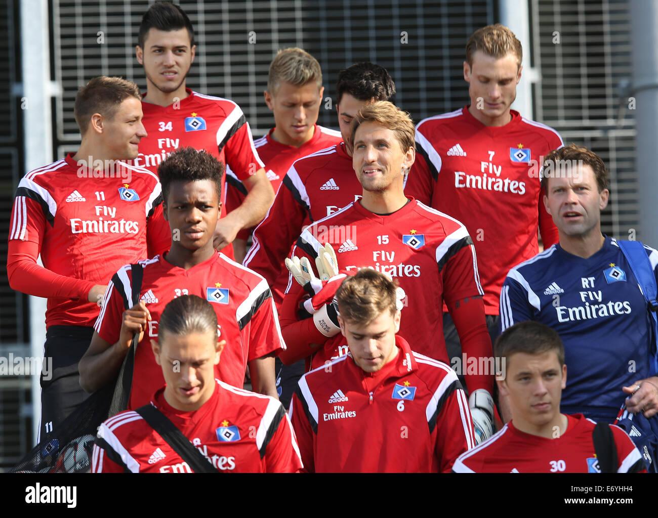 Hamburg, Germany. 02nd Sep, 2014. Hamburg's Gideon Jung (C L-R), goalkeeper Rene Adler and goalkeeper coach - Stock Image