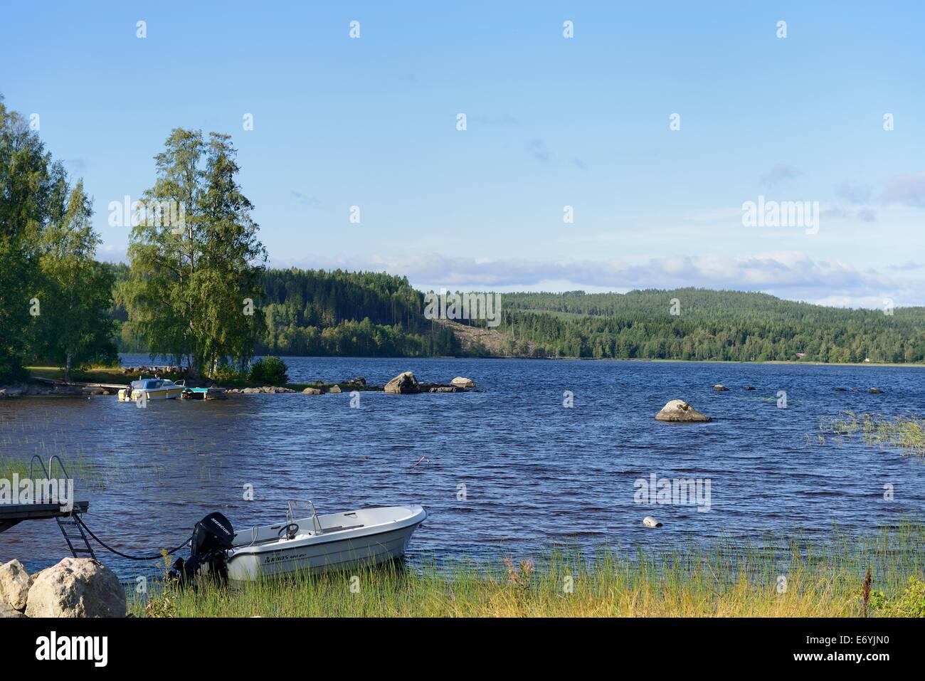 A beautiful lake in Sweden along the Hoga Kusten - Stock Image