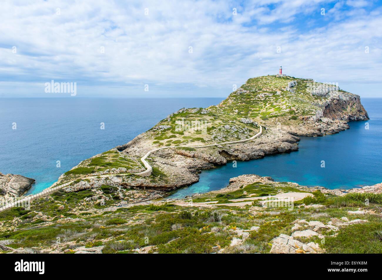 Lighthouse on Cabrera island. Balearic island, Spain - Stock Image