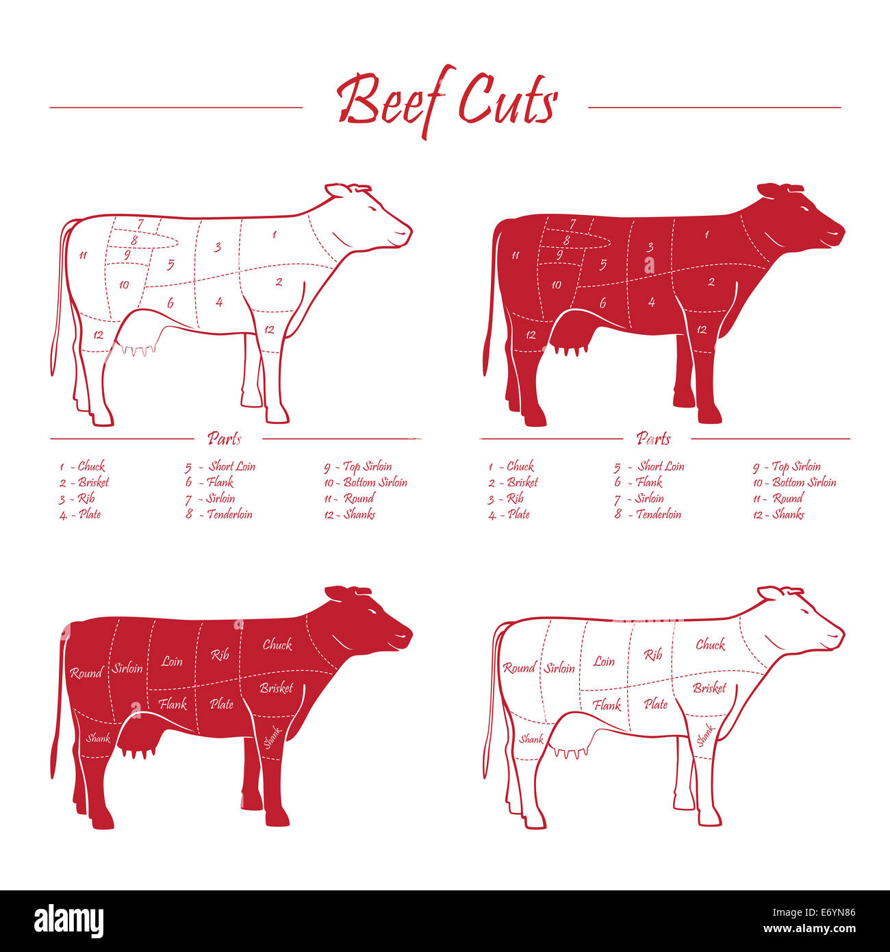 Scheme american cuts of beef - milk cow cuts elements red on white background - Stock Image