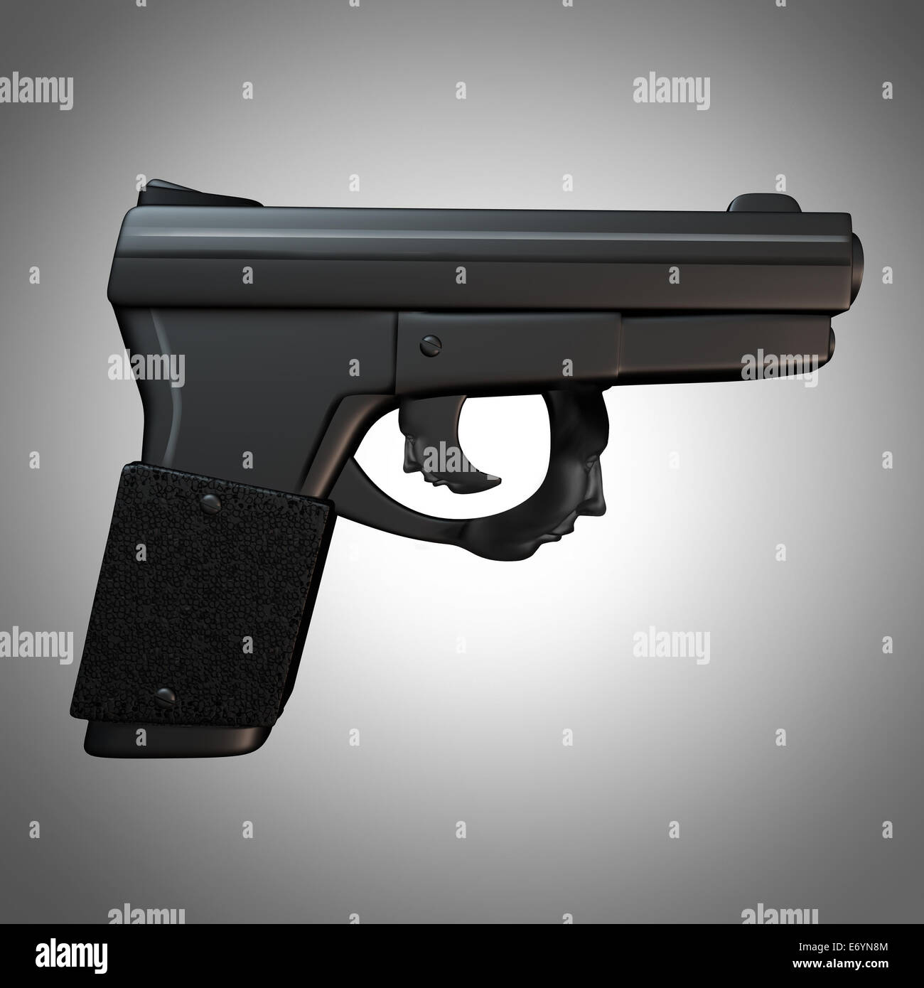 Gun issues and firearm laws concept as a generic three dimensional handgun with the trigger shaped as a human head - Stock Image
