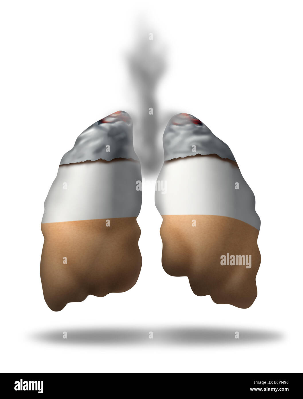 Cigarette lungs concept as a symbol of smoking health effects as a medical metaphor for lung cancer from toxic smoke Stock Photo
