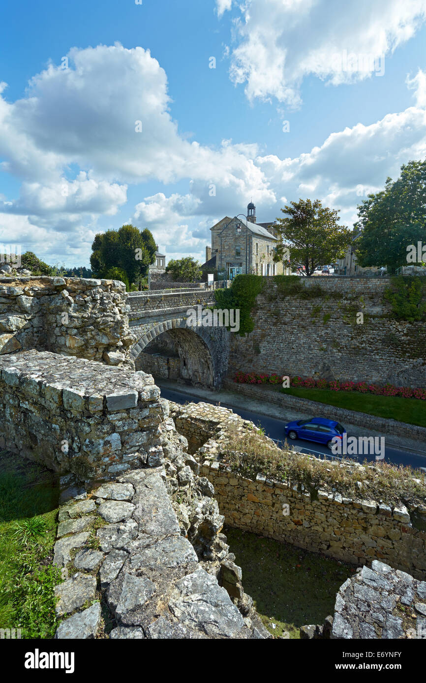 View of Domfront old town, from the ruined castle. Normandy, France. - Stock Image