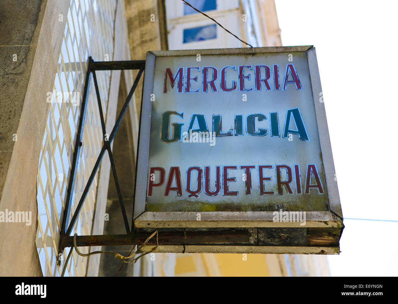 BETANZOS, SPAIN - JULY 30, 2014: Old typical sign of a merceria (haberdashery) in the historic town Betanzos, Galicia, Stock Photo
