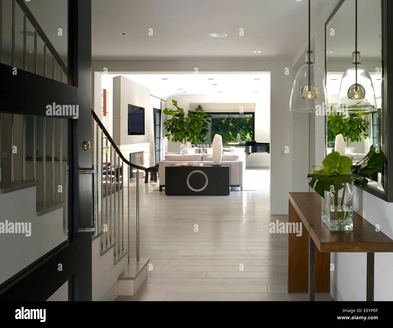 Open plan entrance hallway and living room in stone house atherton stock photo 73139375 alamy for Open plan hallway and living room