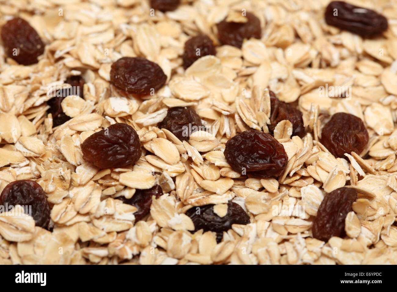 Healthy eating. Oat flakes with raisins. Selective focus. Closeup. - Stock Image