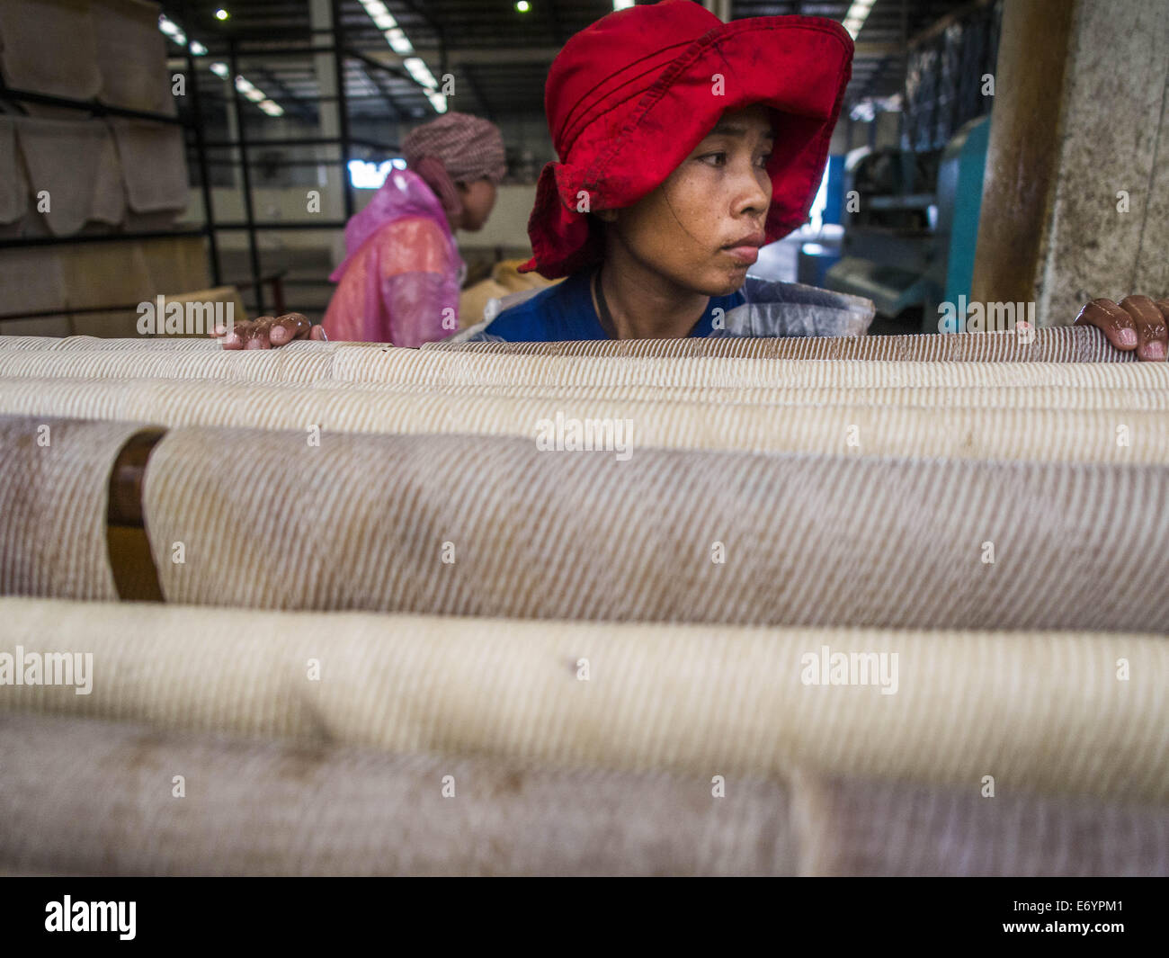 Bo Thong, Thailand. 2nd Sep, 2014. A worker at the Bothong Rubber Fund Cooperative hangs rubber sheets before putting - Stock Image