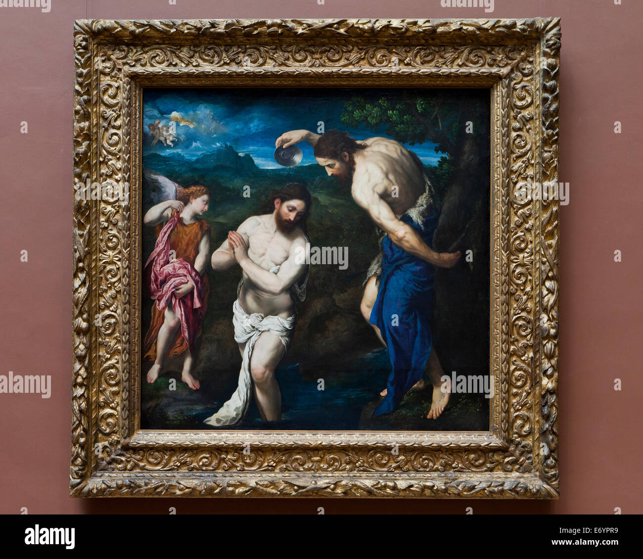 'The Baptism of Christ' by Paris Bordone, 1535 - Smithsonian National Gallery of Art, Washington, DC USA - Stock Image