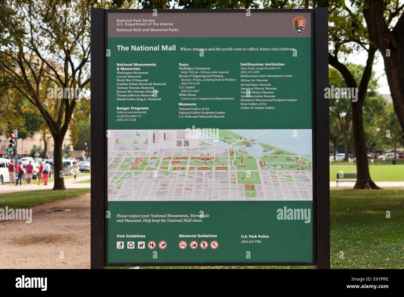 Guide map of The National Mall - Washington, DC USA Stock Photo ...