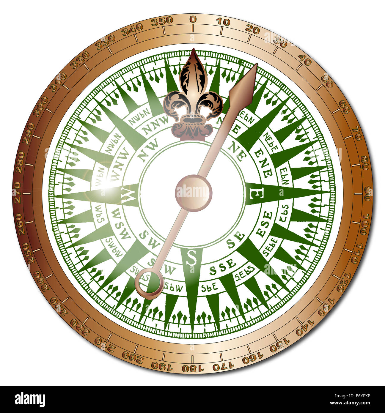A typical old fashioned ships compass with brass bezel and glass reflections over a white background - Stock Image