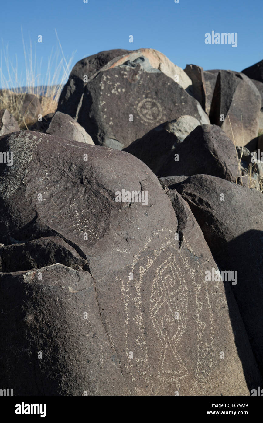 USA, New Mexico, Bureau of Land Management, Three Rivers Petroglyph Site, rock carvings created by the Jornada Mogollon - Stock Image