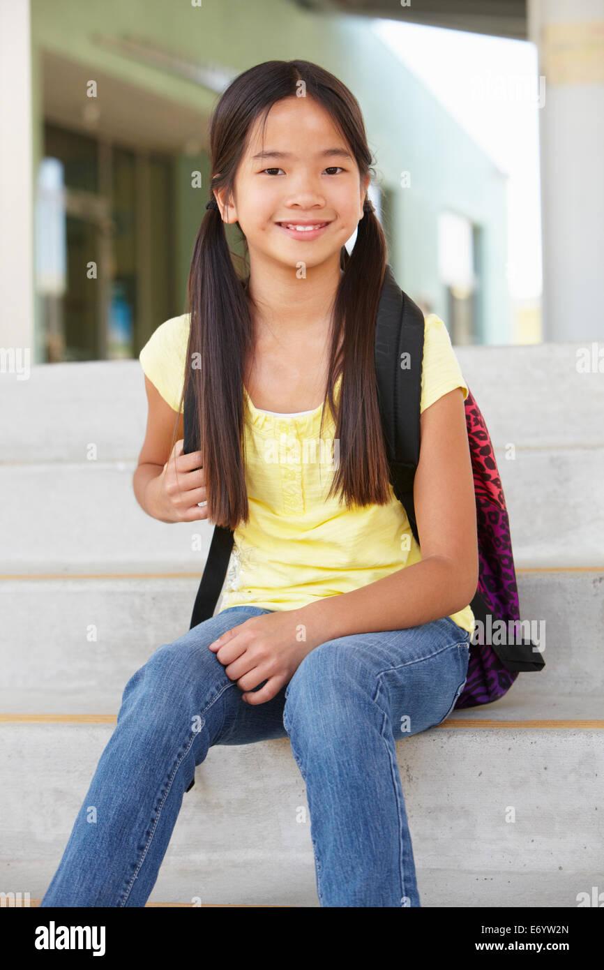 Pre Teen Girl At School