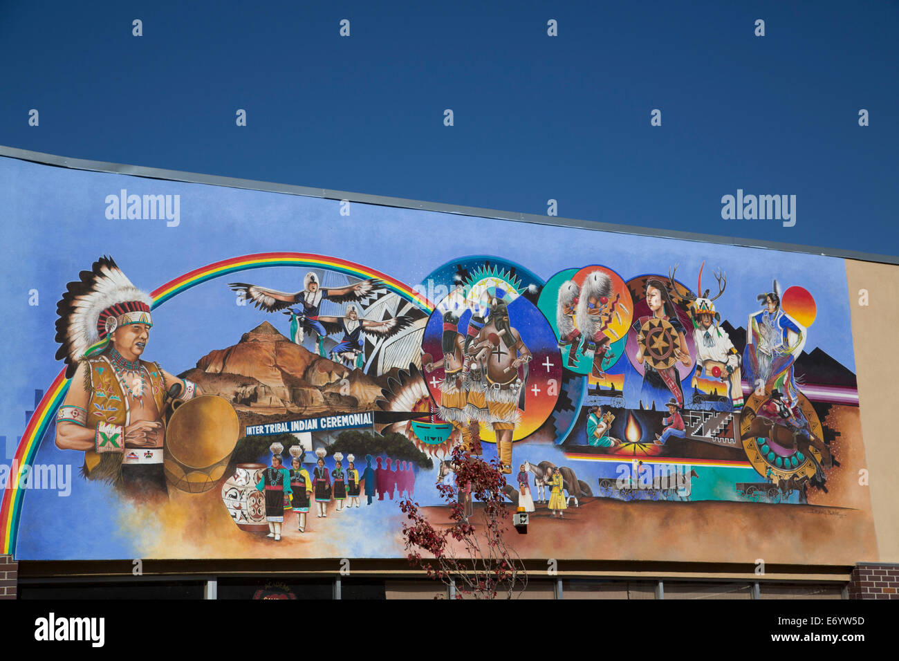 USA, New Mexico, Gallop, located on the Ceremonial Building, 'Ceremonial Mural', Irving Bahe (muralist), - Stock Image