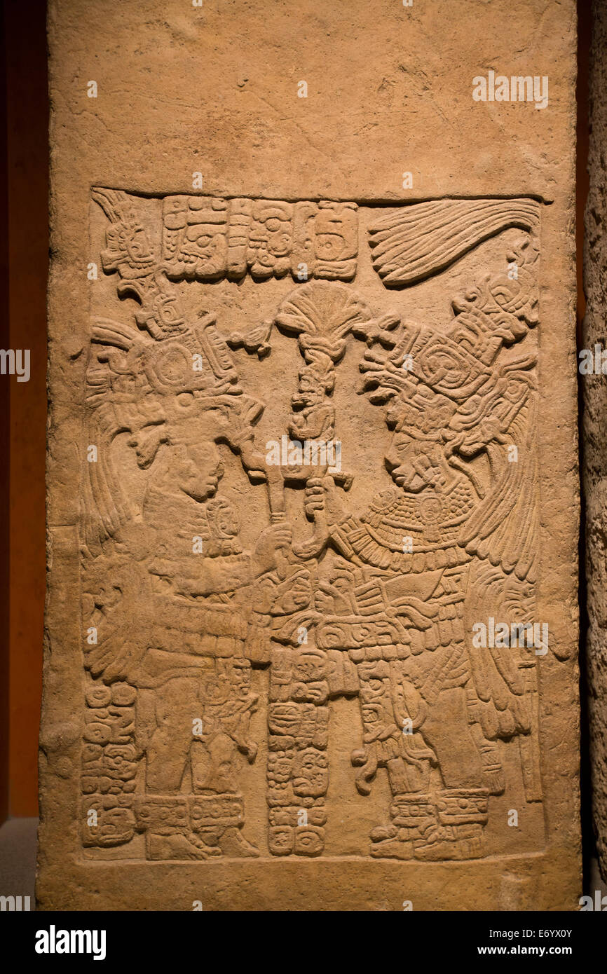 Mexico, Mexico City, National Museum of Anthropology, Lintel 58 from Yaxchilan - Stock Image