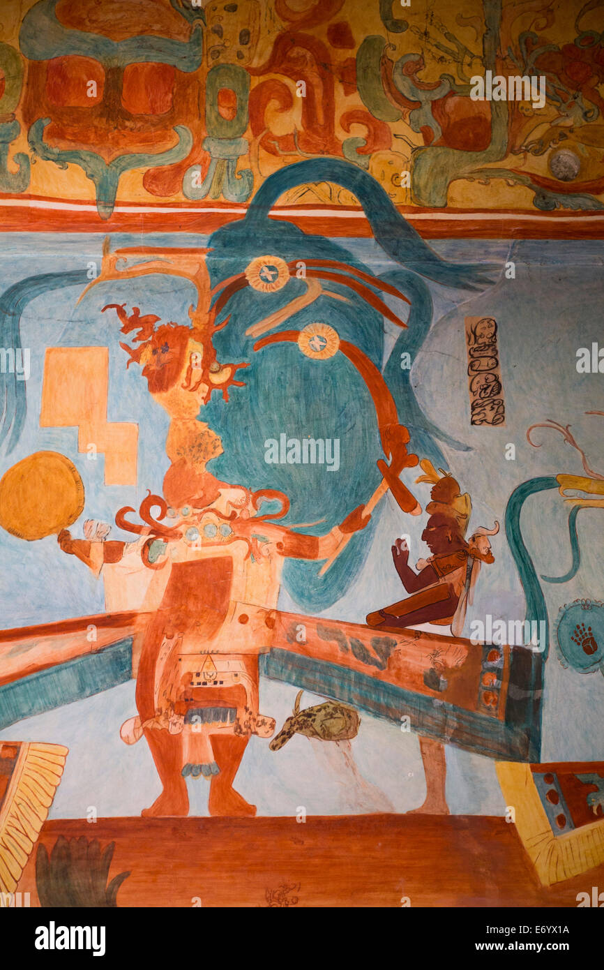 Mexico, Mexico City, National Museum of Anthropology, Reproduction of Bonampak Murals, Room 3 - Stock Image