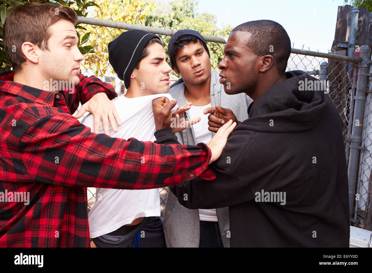 Fight Breaking Out Amongst Gang Members - Stock Image