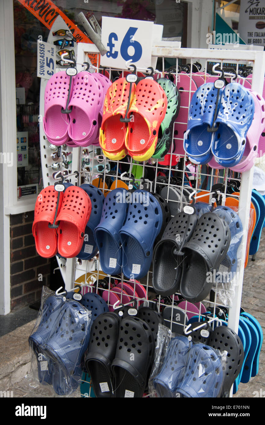 Croc shoes for sale - Stock Image