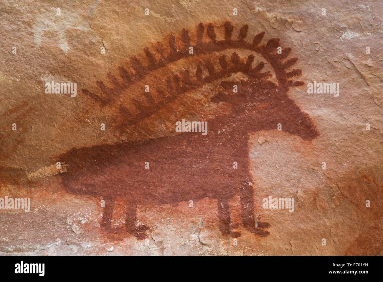 USA, Utah, Dinosaur National Monument, Jones Hole, Fremont style pictographs, AD 700 to AD 1200 - Stock Image