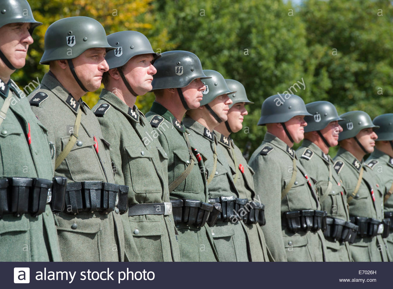 WW2 German SS army soldiers. Historical re enactment at Military Odyssey, Detling, Kent, UK - Stock Image