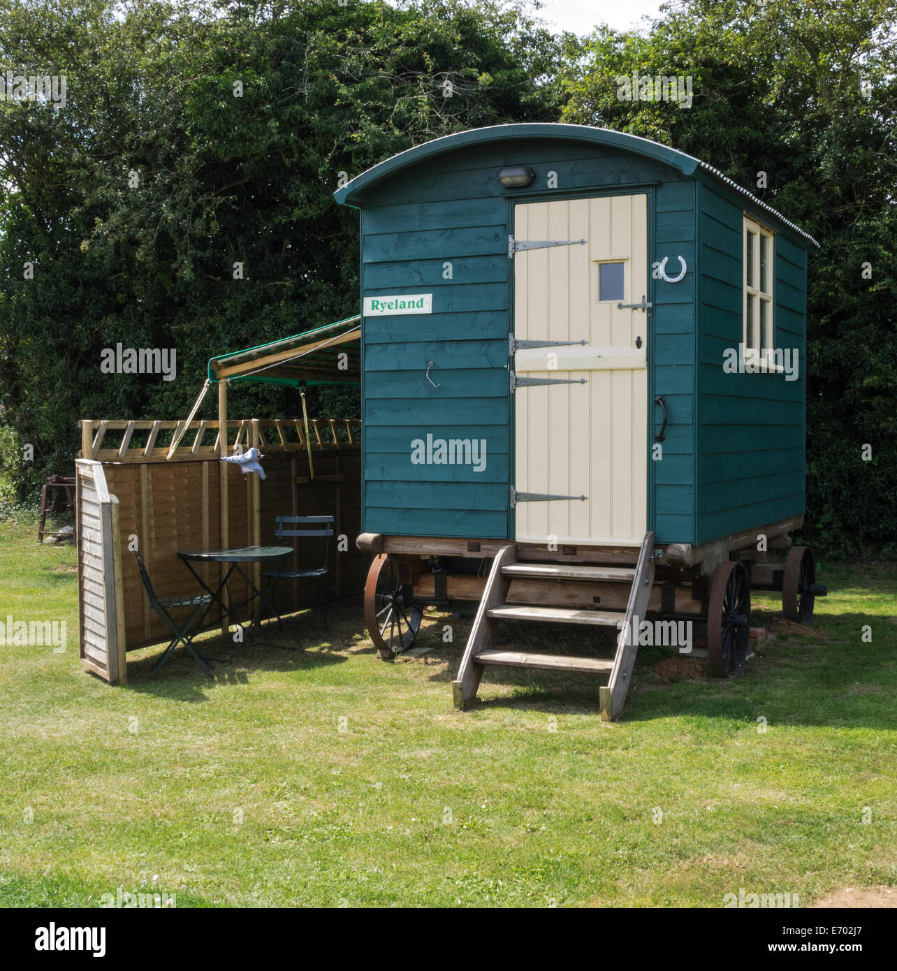 Shepherd's Hut, available for hire as camping accommodation at Birchem Windmill, Norfolk, UK - Stock Image