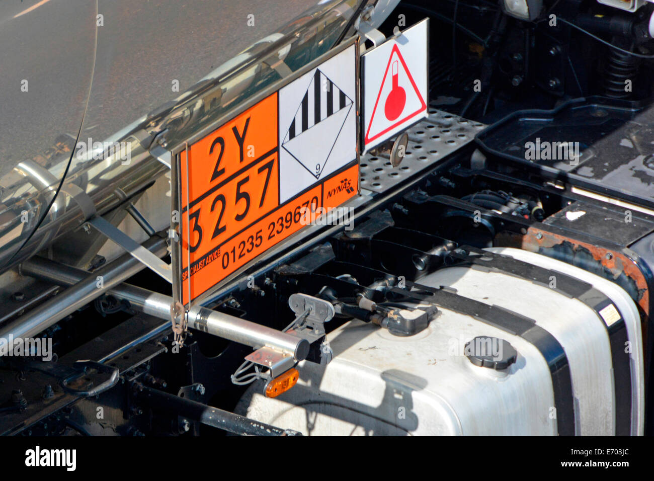 Close up view of Hazchem Hazardous Chemicals and Dangerous Goods emergency information sign & fuel tank on side - Stock Image