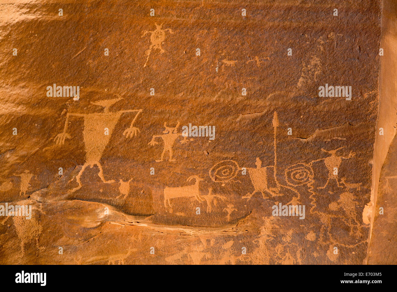 USA, Utah, Potash Road, near Moab, petroglyphs, ancestral puebloan, AD 900 to AD 1250 Stock Photo