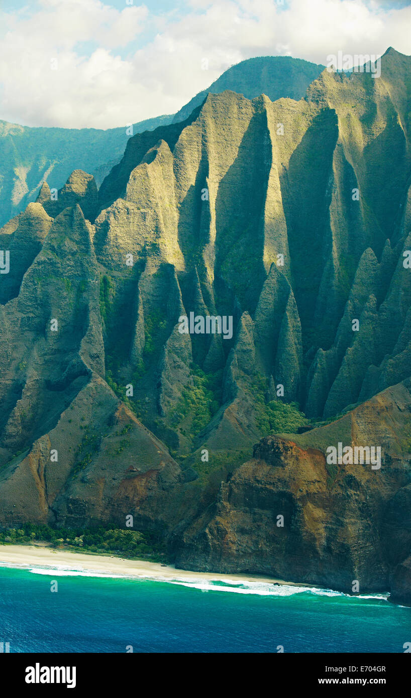 Elevated view of Kalalau Beach, Na Pali Coast, Kaua'i, Hawaii, USA - Stock Image