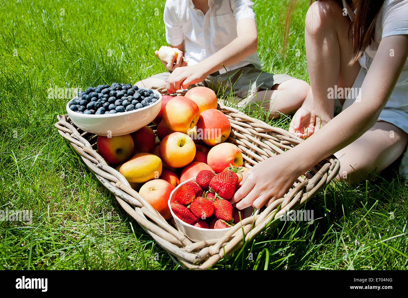 Cropped view of brother and sisters eating fruit from basket on grass - Stock Image