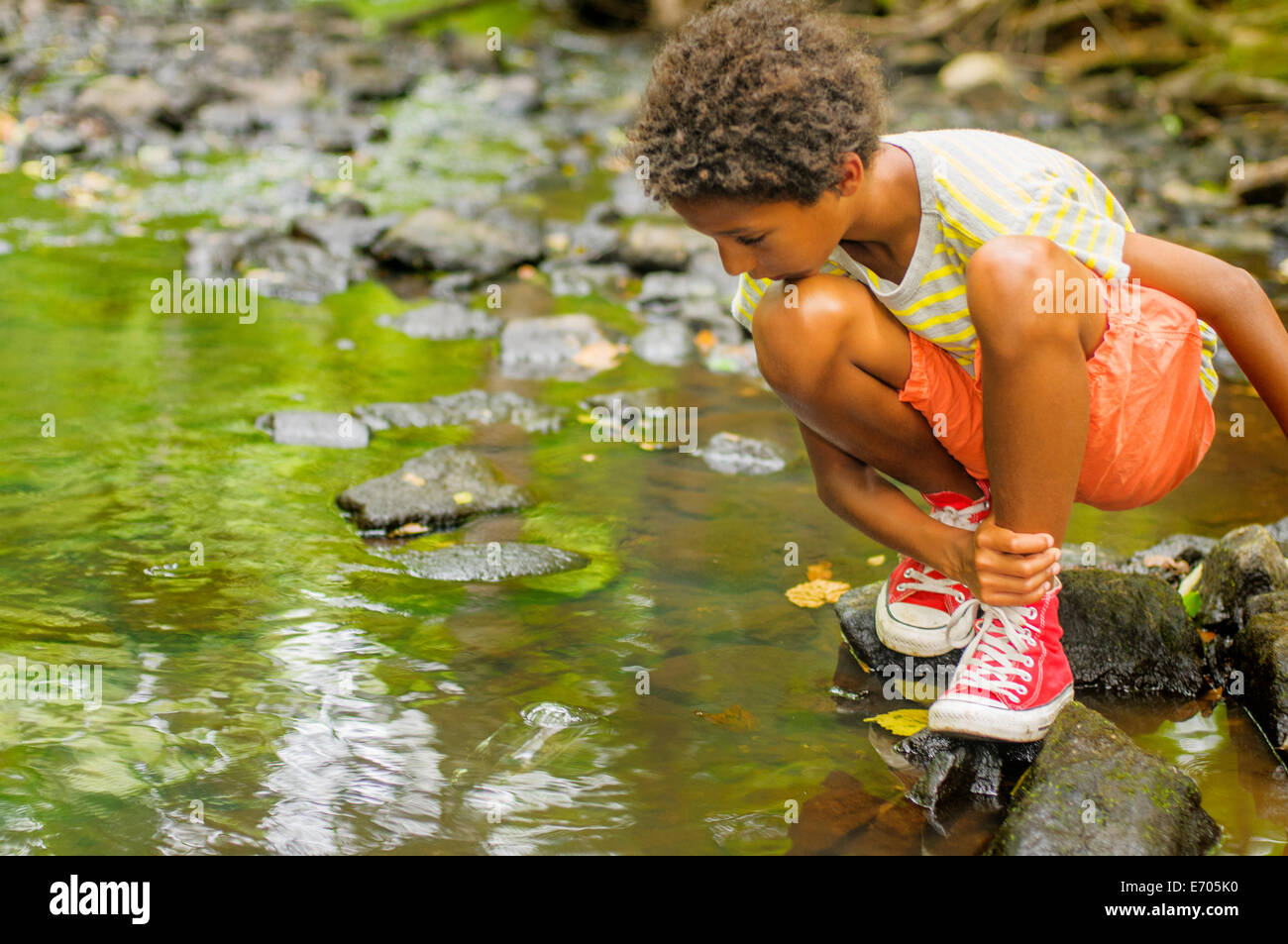 Boy looking for fish in river - Stock Image