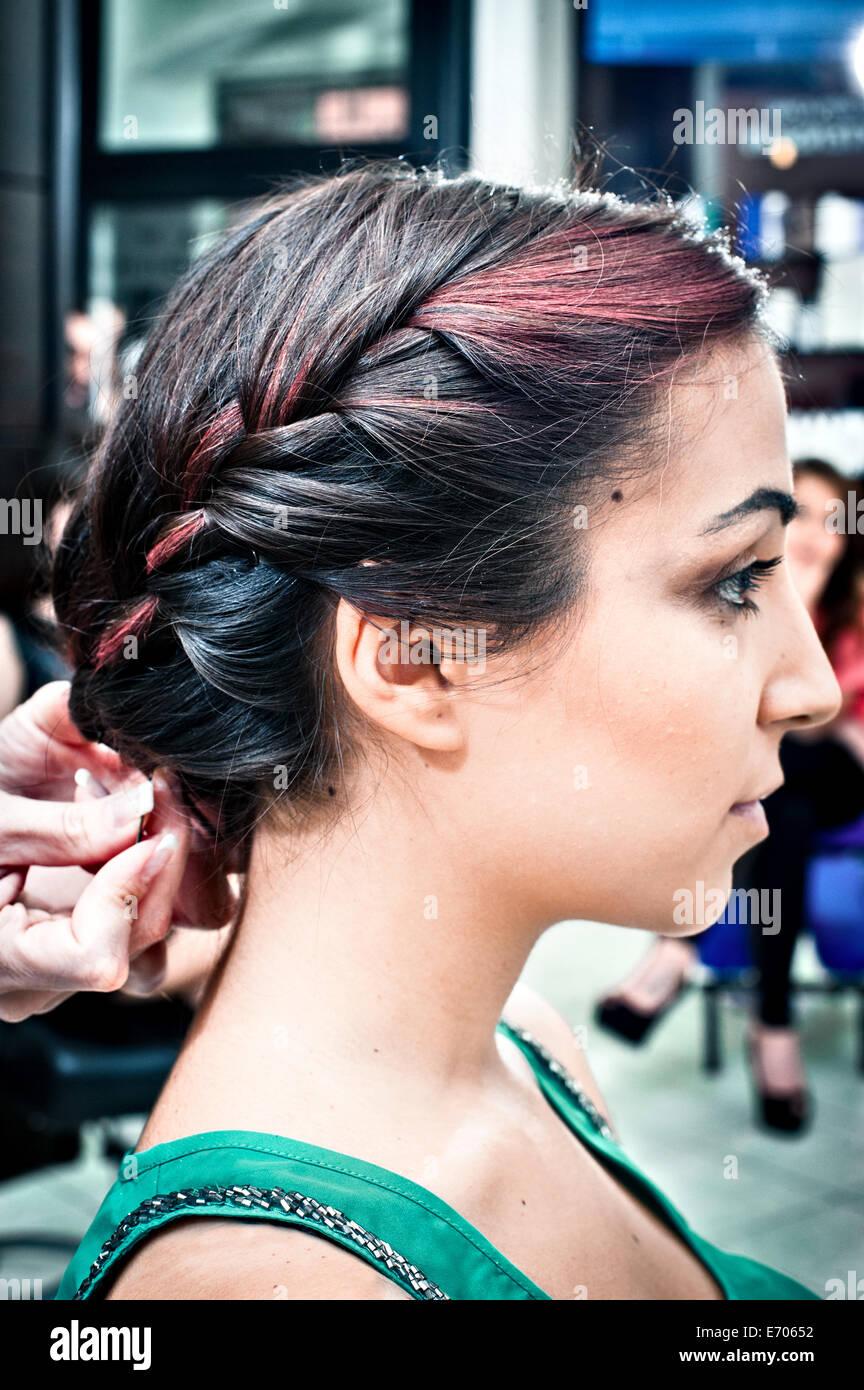 Braiding Hair Style Stock Photos Braiding Hair Style Stock Images
