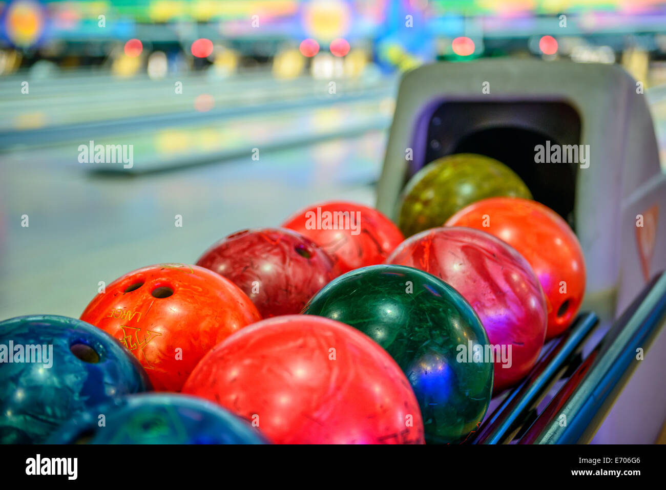 Close-up view of bowling balls - Stock Image