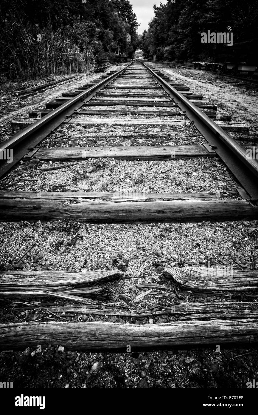Old worn out train tracks and ties in the Connecticut River Valley. - Stock Image