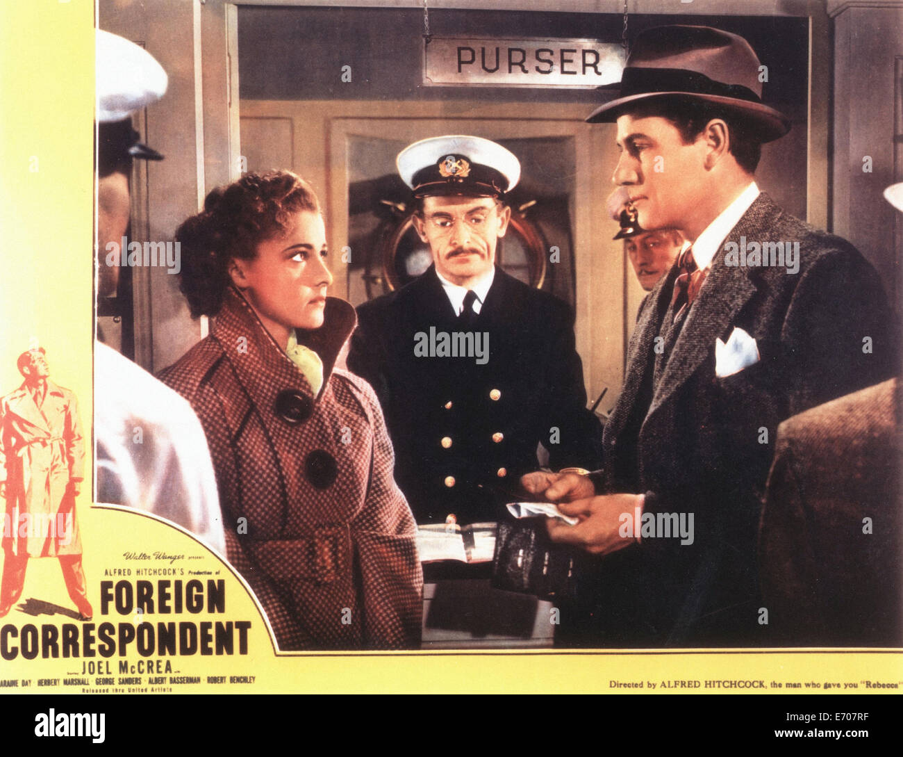 Foreign Correspondent - Lobby Card - Movie Poster - Director : Alfred Hitchcock  -  1940 - Stock Image