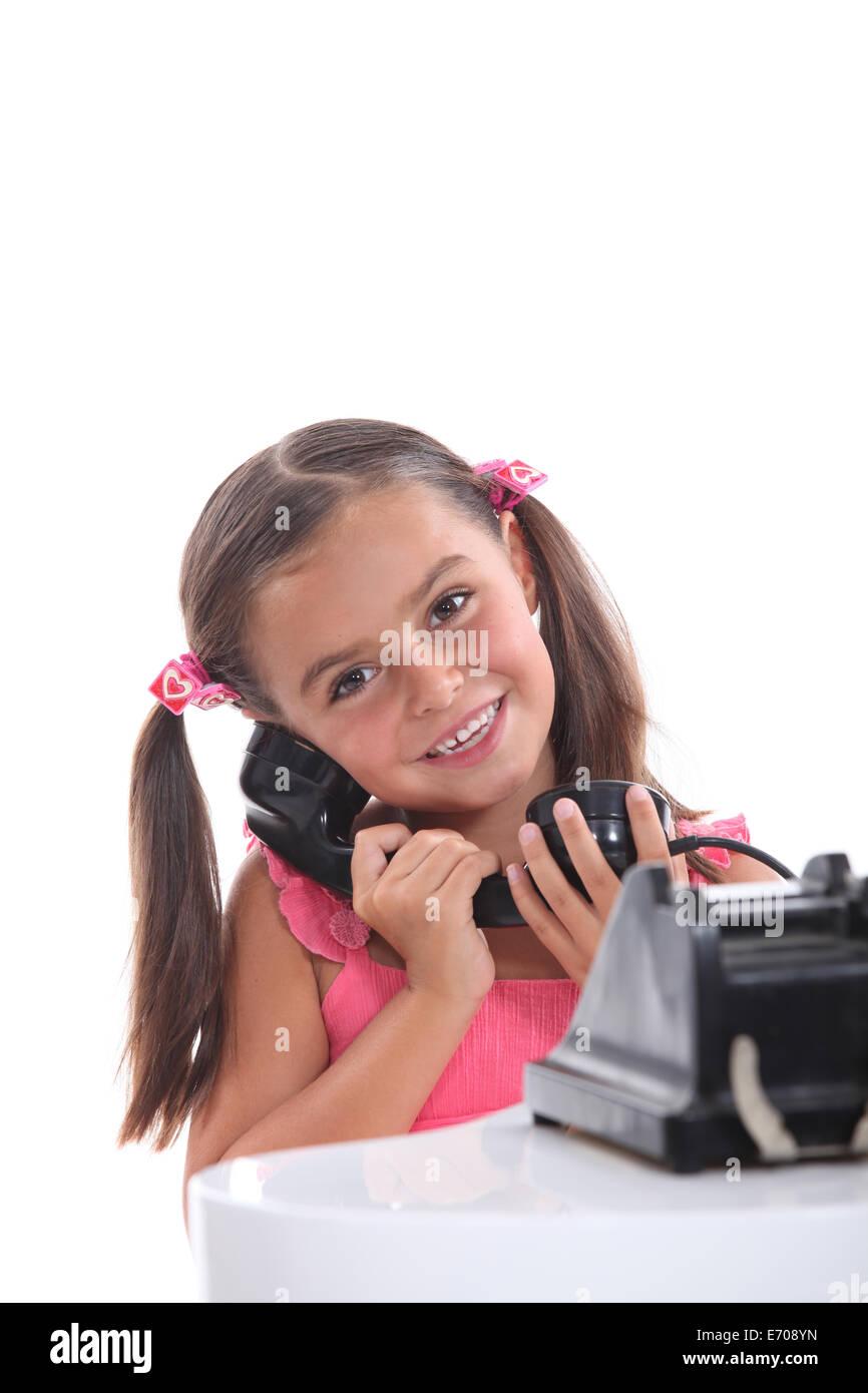 Old fashioned black telephone - Stock Image