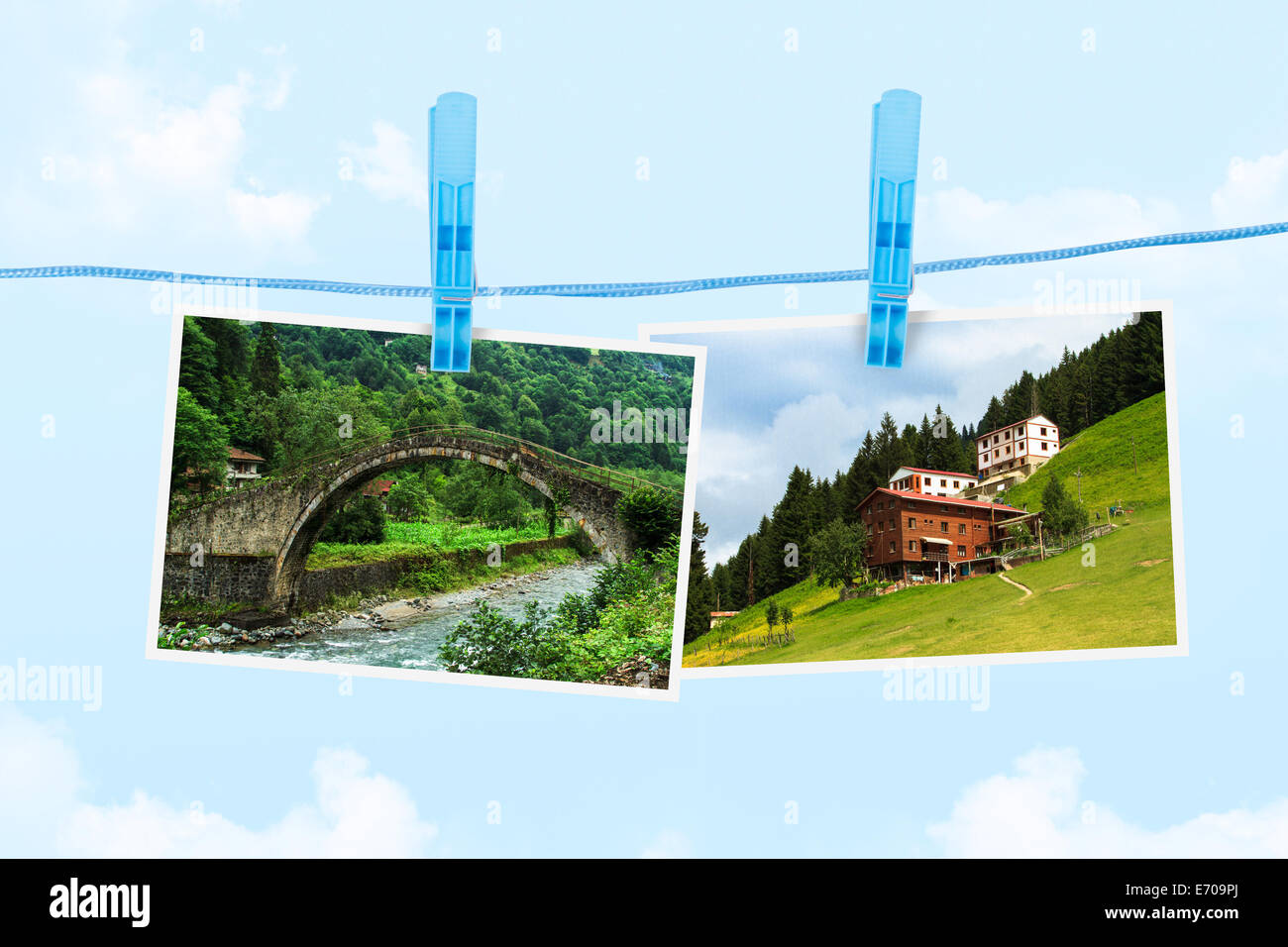 Plateau pictures on paper frame on cloudy background. - Stock Image