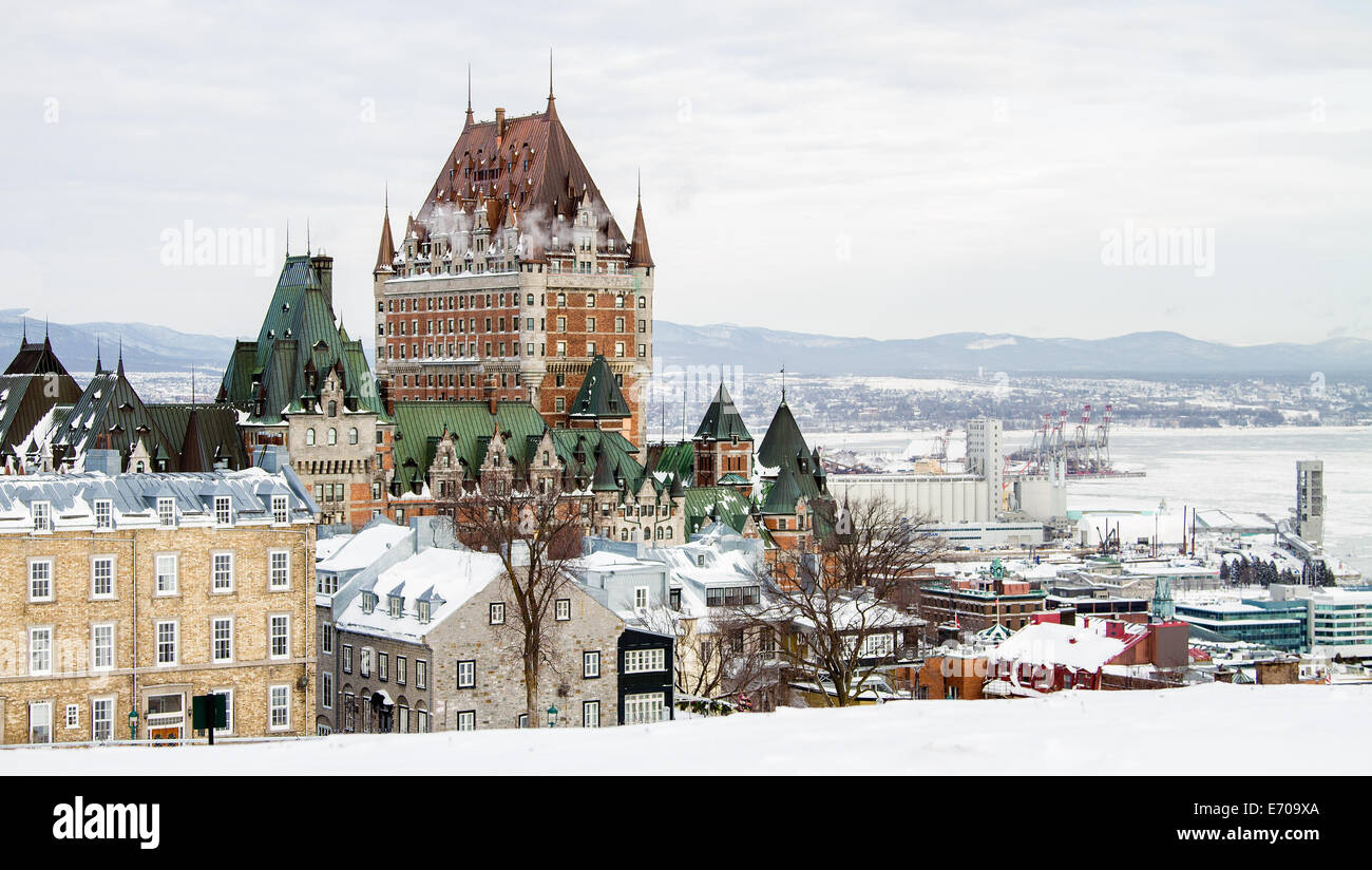 The skyline of Quebec City from the Citadel. - Stock Image