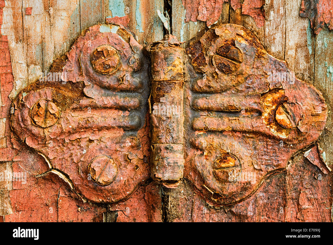 A rustic hinge found on a window in a shed. - Stock Image