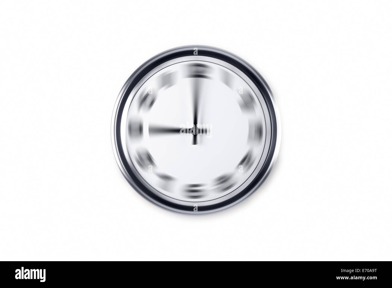 Radial blurry wall clock, isolated on white background. - Stock Image