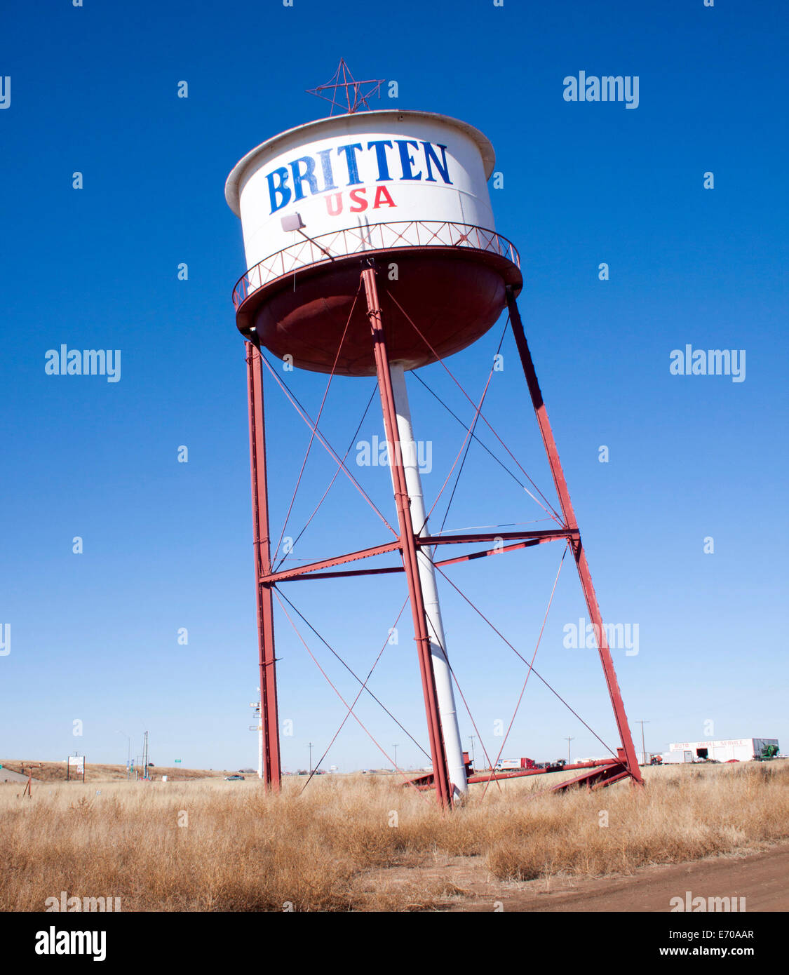 Britten Leaning Water Tower in Groom Texas - Stock Image