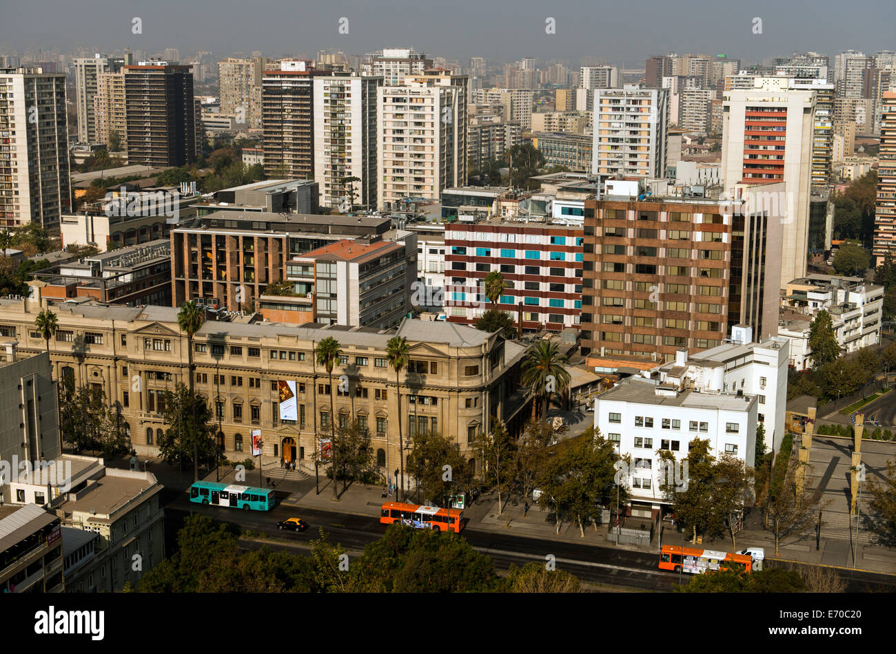 Panoramic view of Santiago del Chile, Chile, South America - Stock Image