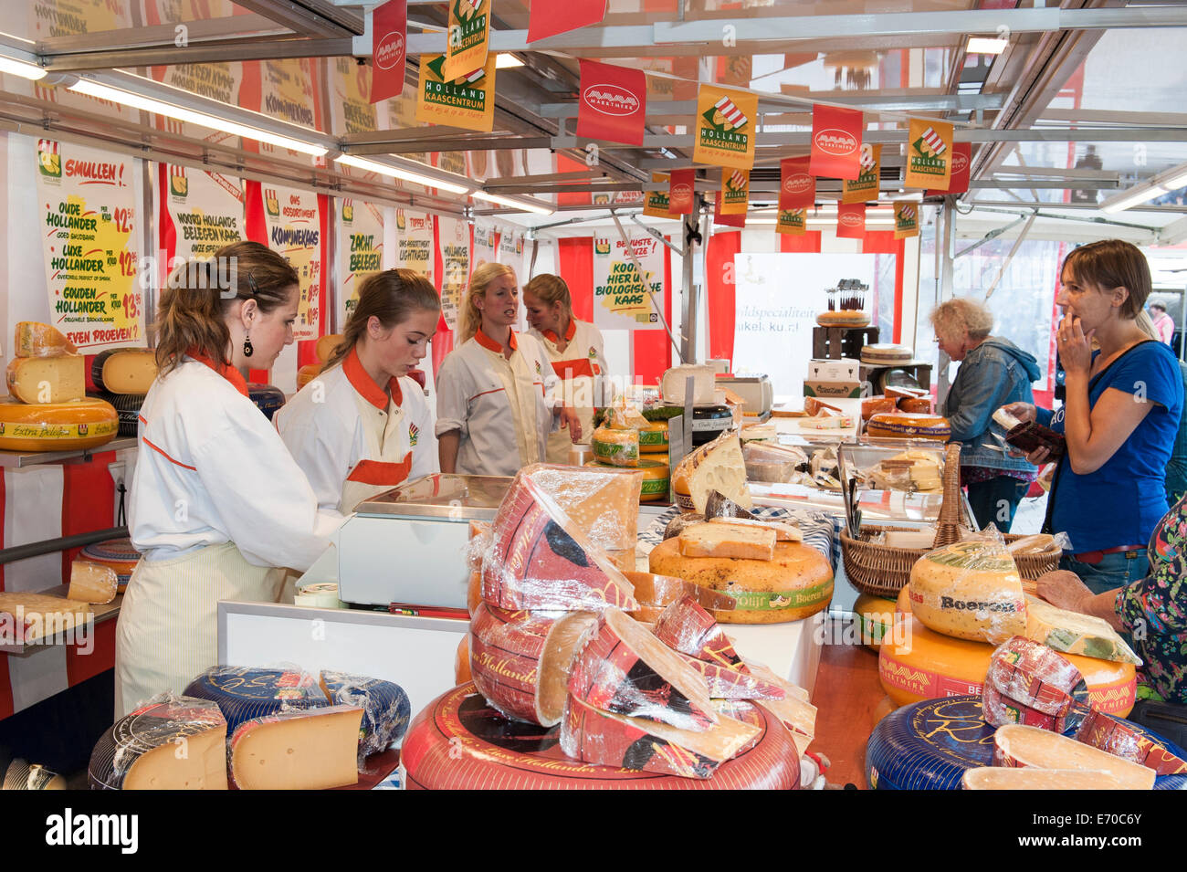 A cheese stall in the weekly market in Amersfoort, Netherlands - Stock Image